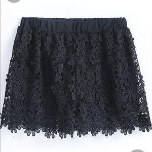 Shein Elastic Waist Floral Crochet Lace Shorts